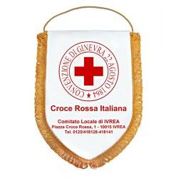 Gagliardetto con Logo CRI e dati Comitato cm 28x20,5 inclusa la frangia