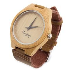 Orologio di bambù, cinturino in vera pelle.