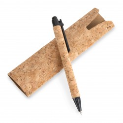 Penna rivestita in sughero, con custodia sughero